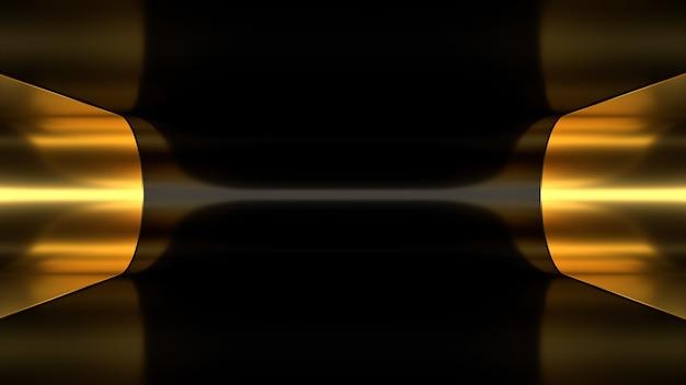 3d render fondo papel tapiz abstracción oro negro dorado túnel luz iluminación profundidad