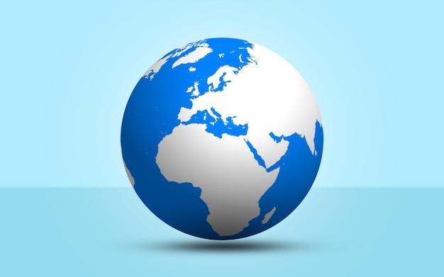 3d render globo esfera sobre fondo azul