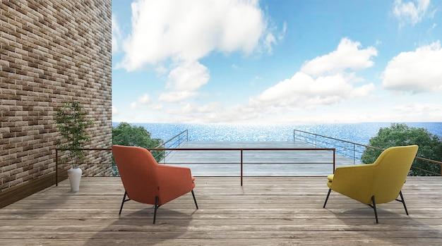 3d render hermosas sillas en terraza al aire libre con buena vista