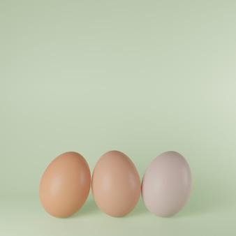 3d render ilustración conjunto de huevos