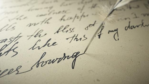 3d render ink pen escribe poesía en papel viejo