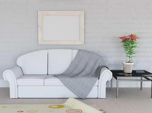 3d render de un interior de habitación con marco de imagen en blanco en la pared