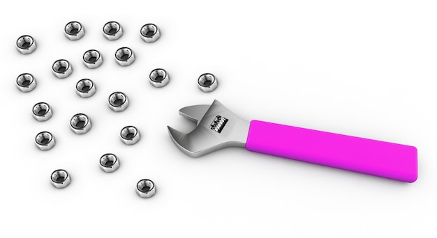 3d render llave ajustable sobre fondo blanco.
