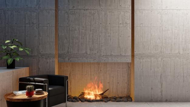 3d render loft salón con chimenea y pared de cemento vacía en blanco