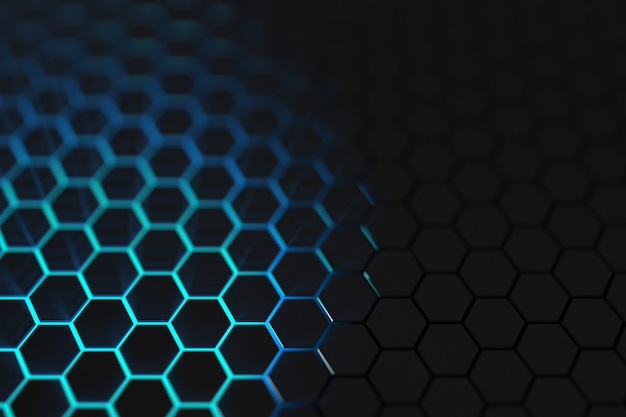 3d render luz azul fondo hexagonal