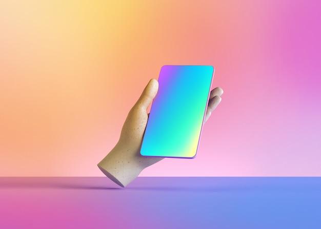 3d render maniquí mano sosteniendo un dispositivo de teléfono inteligente, dispositivo electrónico aislado sobre fondo de colores pastel.
