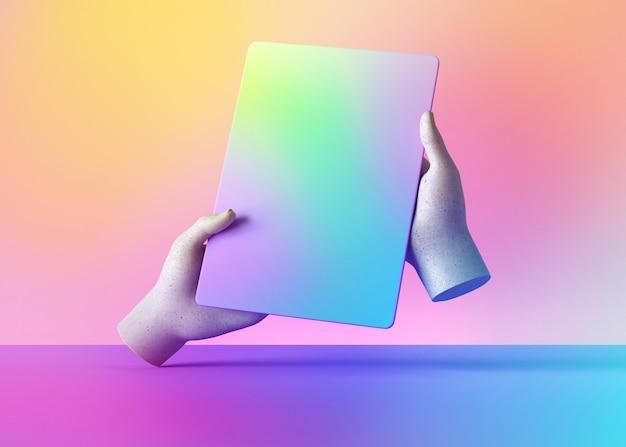 3d render maniquí manos sosteniendo gadget, dispositivo electrónico aislado sobre fondo de colores pastel.