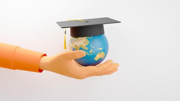 3d render de una mano sosteniendo el globo terráqueo con un sombrero de graduación sobre fondo blanco.