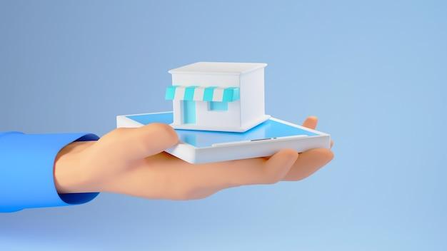 3d render de una mano sosteniendo una pequeña tienda sobre un fondo azul.