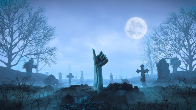 3d render mano zombie se arrastra fuera del suelo por la noche contra el fondo de la luna en el cementerio