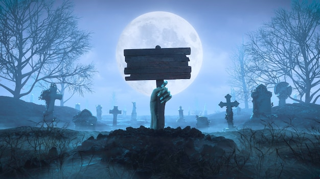 3d render mano zombie con una placa de madera fuera del suelo por la noche contra el fondo de la luna en el cementerio