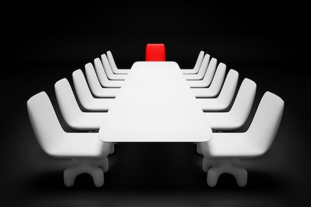 3d render mesa blanca para negociaciones, encabezada por una silla roja del líder sobre fondo negro.