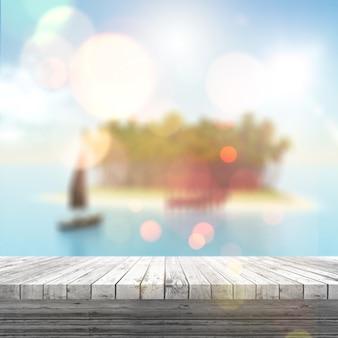 3d render de una mesa de madera blanca mirando a un paisaje tropical borroso