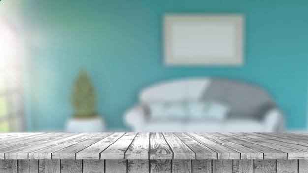 3d render de una mesa de madera mirando a un interior borroso de habitación con sol brillando en la ventana