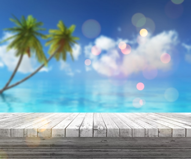 3d render de una mesa de madera mirando hacia un paisaje tropical