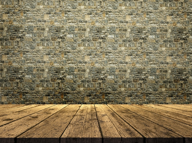 3d render de una mesa de madera mirando a una textura de pared de piedra