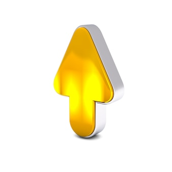 3d render de oro amarillo flecha arriba aislado sobre fondo blanco.