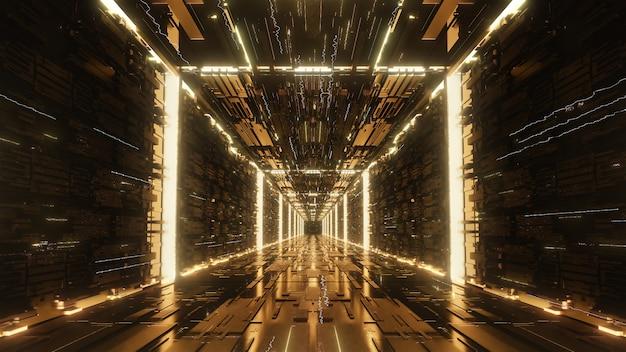 3d render oro digital futurista neón túnel