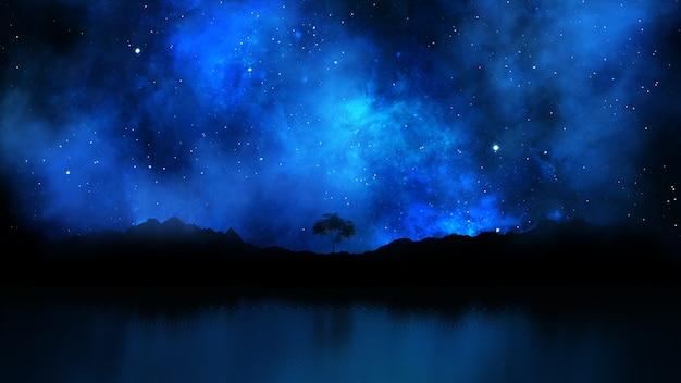 3d render de un paisaje con árbol contra un cielo nocturno