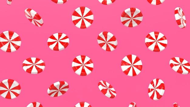 3d render patrón caramelo lollipop blanco rojo roto
