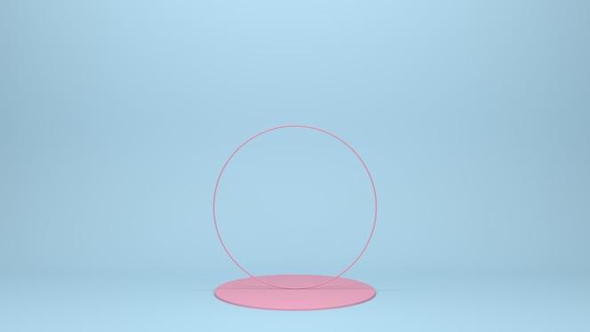 3d render pedestal rosa sobre un fondo azul.