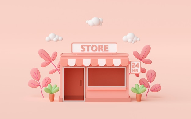 3d render pequeña tienda de conveniencia sobre fondo rosa claro
