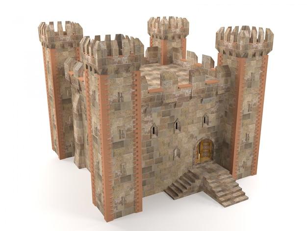 3d render piedra ladrillo fortaleza
