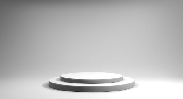 3d render podio de escalera minimalista blanco sobre fondo blanco