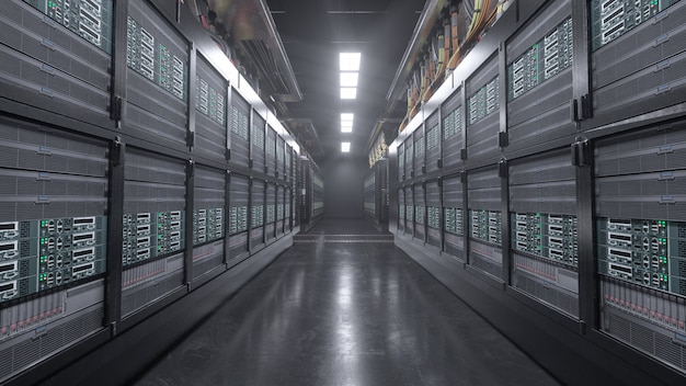3d render sala de grunge de servidor digital