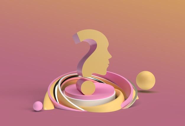 3d render signo de interrogación con productos de visualización de rostro humano elemento de diseño de ilustración de publicidad.