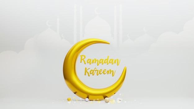 3d render símbolo de la luna creciente del islam con texto de ramadán kareem