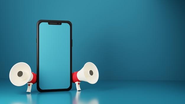 3d render smartphone con dos megáfonos sobre fondo azul.