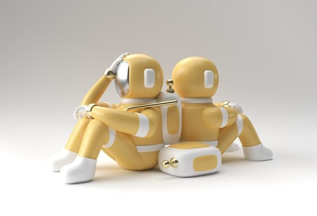 3d render spaceman astronaut dolor de cabeza, decepción, caucásico cansado o diseño de ilustración 3d de gesto de vergüenza.