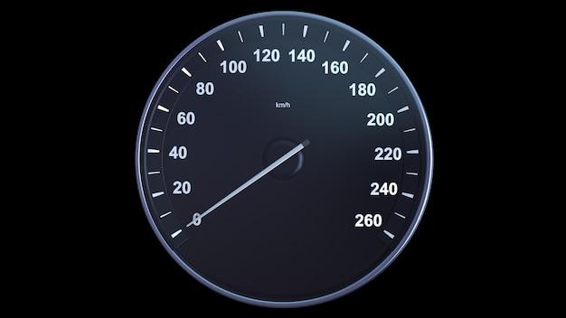 3d render velocímetro del coche aumentando la velocidad en el canal alfa
