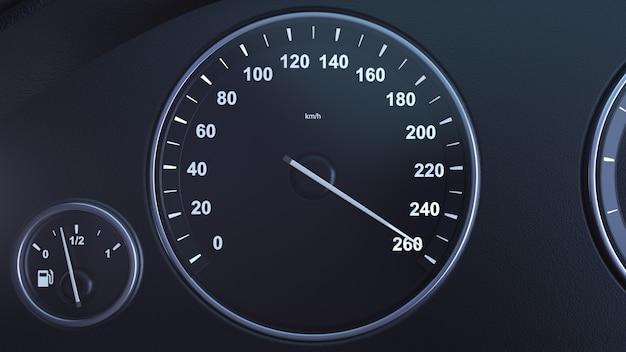 3d render velocímetro del coche recogiendo velocidad