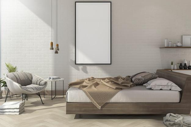 3d render vintage mínimo mock up dormitorio en estilo escandinavo