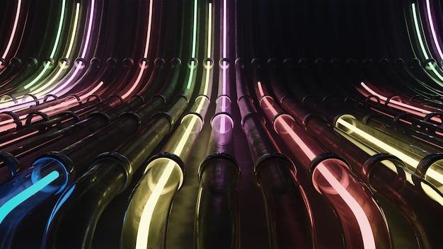 3d render vj líneas de neón que atraviesan tuberías