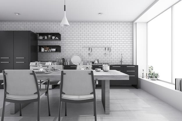 3d rendering agradable ladrillo blanco cocina y comedor