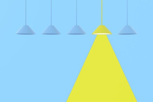 3d rendering amarillo encendido lámpara entre lámparas azules sobre fondo azul.