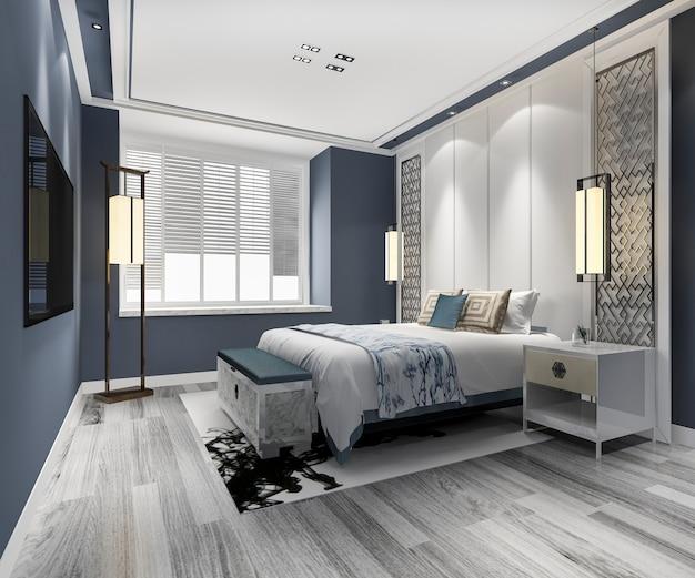3d rendering azul de lujo chino dormitorio suite en hotel resort