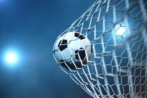 3d rendering balón de fútbol en la portería. balón de fútbol en red con foco o fondo claro estadio, concepto de éxito