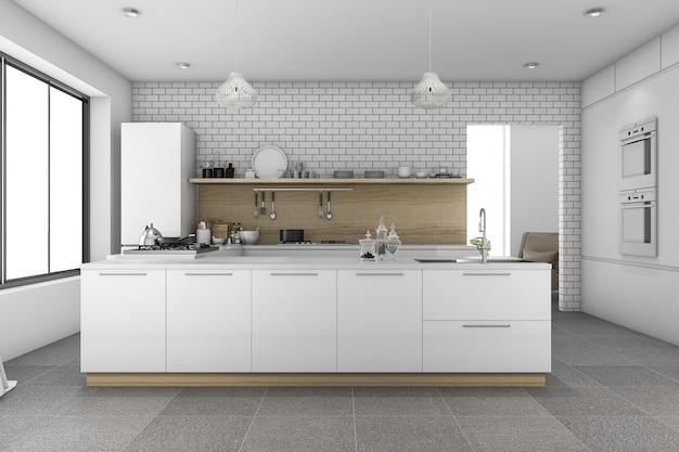 3d rendering bonita cocina de azulejos con pared de ladrillo