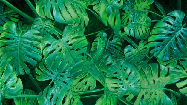 3d rendering cg fondo de plantas abstractas verdes