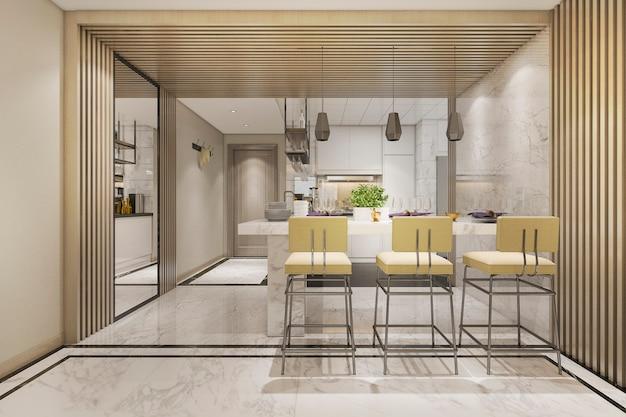 3d rendering cocina minimalista blanca con decoración de lujo