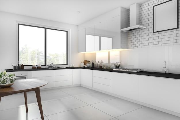 3d rendering cocina minimalista blanca con mesa de comedor