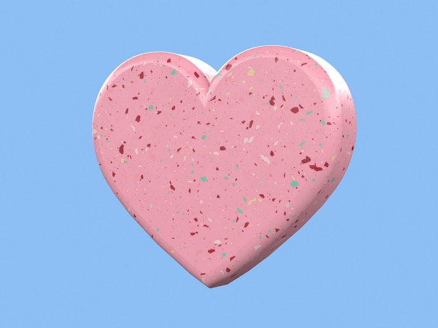 3d rendering corazón forma amor concepto romántico fondo azul