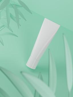 3d rendering cosmetic beauty paquete de producto de envases de plástico en blanco blanco sobre fondo de colores pastel