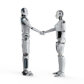 3d rendering cyborg masculino y femenino agitando la mano