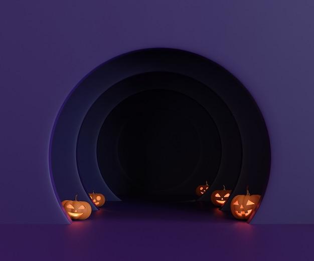 3d rendering halloween pumpkins head jack lantern con luces sobre fondo oscuro púrpura