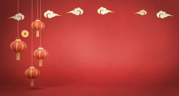 3d rendering linternas chinas sobre fondo rojo